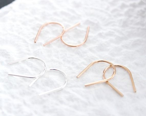 Tiny Horseshoe Earrings gold or sterling silver, Minimalist earrings, Gold Bar Earrings, Gold Arc Earrings, Wishbone Earrings, Modern Chic