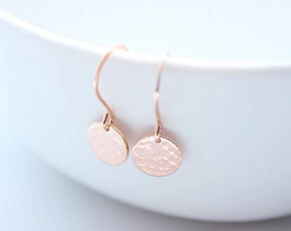 Tiny Dot Rose gold earrings hammered rose gold discs, dainty earrings, everyday earrings, simple small dangle earrings