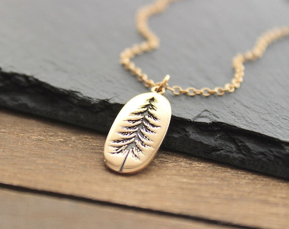 Tree Necklace gold, Pine tree necklace, Tree Pendant, Pine Necklace, Winter Tree Necklace, Evergreen Necklace, Christmas gift
