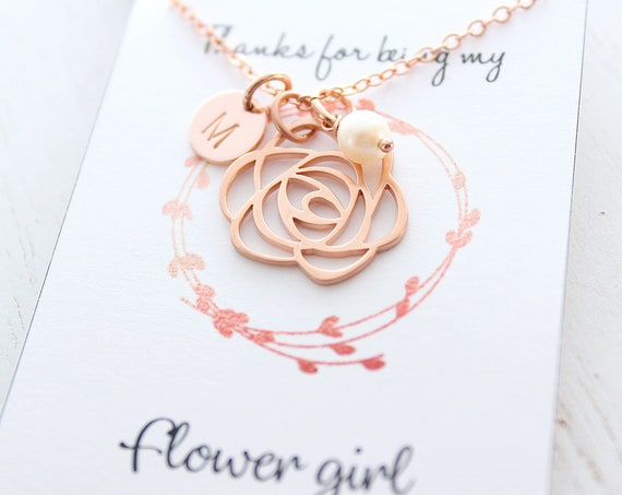 Flower Girl necklace in rose gold with personalized initial necklace and freshwater pearl. Little girl necklace, wedding gift