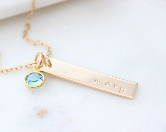 Bar necklace with birthstone necklace Mothers Day gift with Kids Names, Personalized Child Birthstone Necklace For Grandma, Custom Mom Gift