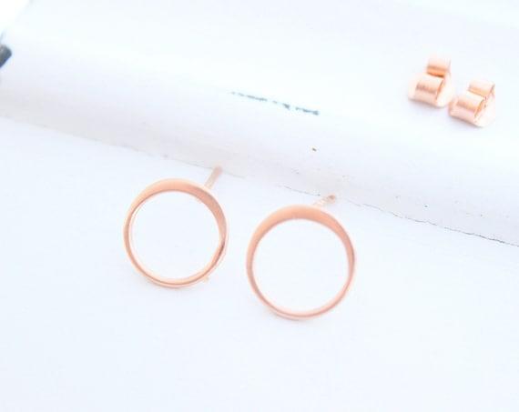 Open Circle Earrings, Dainty rose Gold Round eternity earrings, or Rose Gold or Silver, Circle Stud Earrings, Simple Everyday earrings