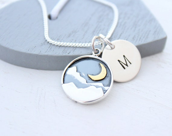 Mountain Necklace in Silver Necklace for Woman, Wanderlust Jewelry, Mountain Range with Moon, Mothers Day Gift