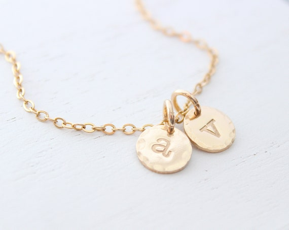 Engraved initial necklace gold hammered, lowercase initial necklace, dainty initial necklace, personalized jewelry, simple initial necklace