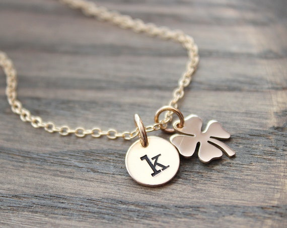 Four Leaf Clover Necklace • Gold Clover Pendant Necklace • Dainty Clover Charm Necklace • Irish Shamrock Necklace • Good Luck Charm
