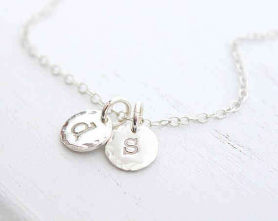 Engraved initial necklace silver, lowercase initial necklace, dainty initial necklace, tag initial necklace, simple initial necklace