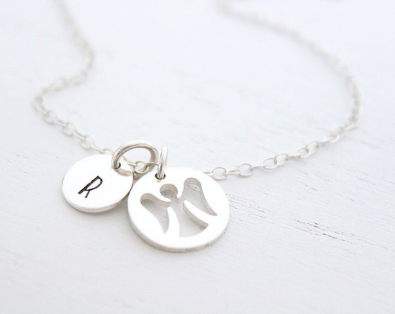 Guardian angel necklace silver, Personalized Necklace, Godmother Gift, Angel Charm Necklace, Initial Charm Necklace, memorial necklace