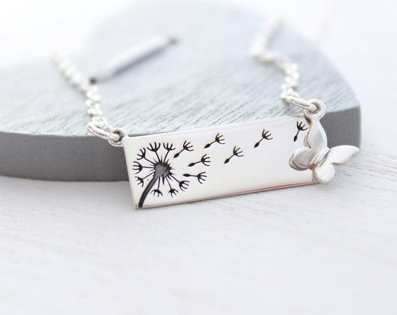 Dandelion Necklace in Sterling Silver with butterfly charm necklace • silver bar necklace • wish necklace •  Mom necklace
