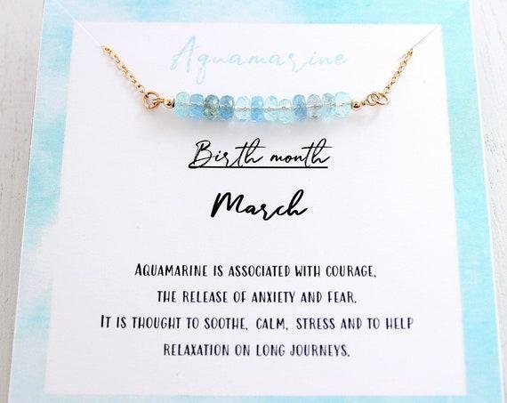 Aquamarine Necklace Silver, Aquamarine Rose Gold Necklace,  Minimalist Necklace, Natural Aquamarine Dainty Necklace, March birthstone