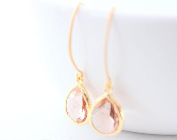 Champagne gold earrings Long Wire earrings, Peach Earrings, Bridesmaids Earrings, Bridesmaids Gifts , Wedding earrings