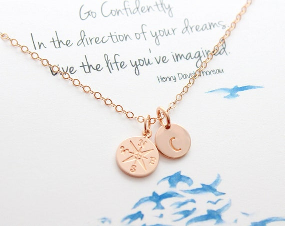 Compass Necklace rose gold Graduation gifts, College Graduation Gift, Journey necklace Gift for her