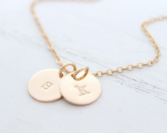 Lowercase initial necklace gold, Monogram Necklace Gold , dainty initial necklace, disc necklace, personalized jewelry, Christmas gift