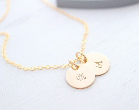 Simple initial necklace in gold, dainty initial necklace, 2 initial necklace, cursive initial necklace Large initial