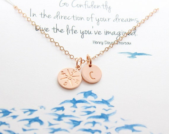 Compass Necklace rose gold, Graduation gifts, College Graduation High school Senior, Journey necklace gift for her