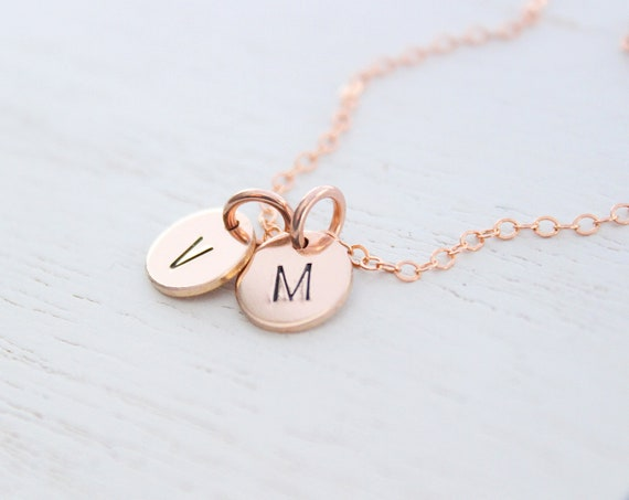 Initial necklace rose gold for mom • Tiny Initial Necklace • Name Necklace • Gold Letter Necklace • Personalized Name Necklace