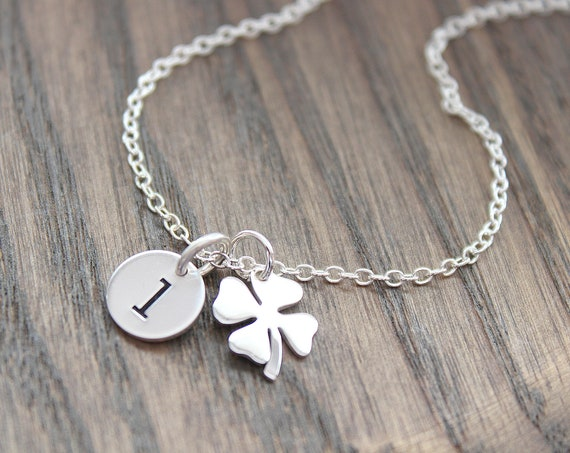 Four Leaf Clover Necklace • Silver Clover Pendant Necklace • Dainty Clover Charm Necklace • Irish Shamrock Necklace • Good Luck Charm
