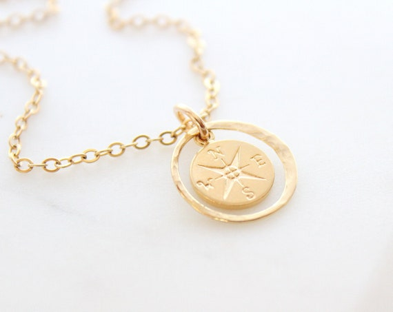 Compass Necklace enjoy the journey necklace, compass pendant, Compass charm, Graduation gift, friendship necklace
