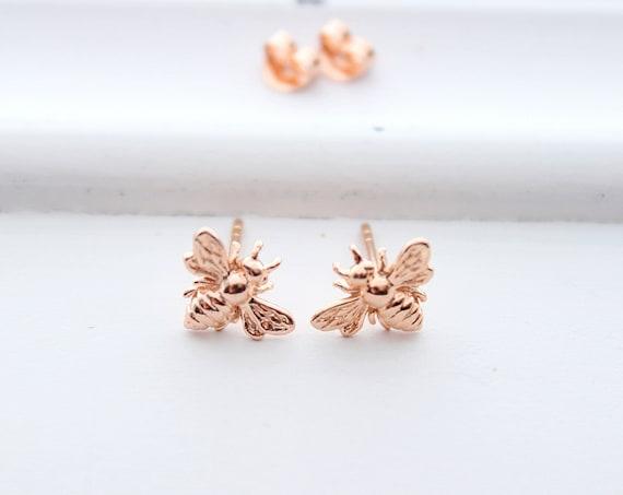 Bee earrings in rose gold, honey Bee Earrings, bumble bee earrings tiny Studs earrings, Christmas gift