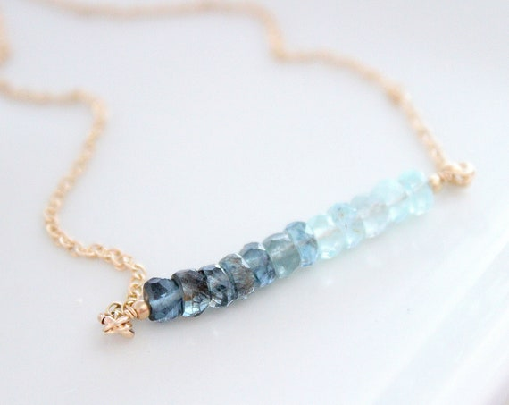Moss Aquamarine Ombre Necklace, March Birthstone Necklace, Gemstone Bar Necklace, Personalized Birthday Gift