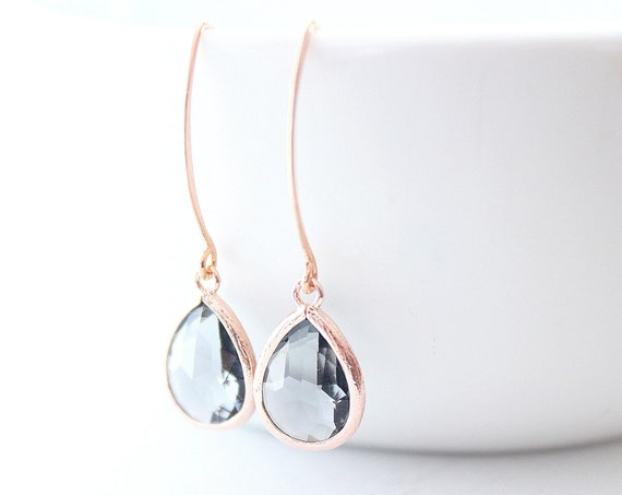 Black diamond earrings in rose gold for Bridesmaid Gift, Grey earrings, Dangle Earrings, Bridesmaid Earrings, Wedding Jewelry