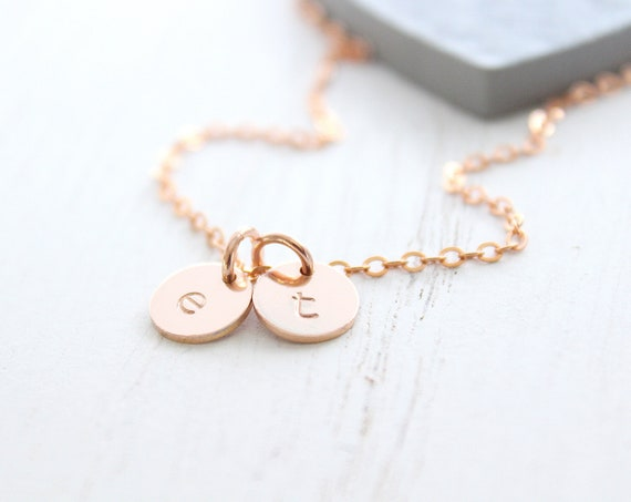 Rose gold initial Necklace with monogram necklace, Personalized jewelry, Letter charm necklace