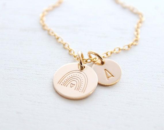Rainbow Gold Necklace, Rainbow Disc Necklace, Miscarriage Necklace, Rainbow Baby Necklace