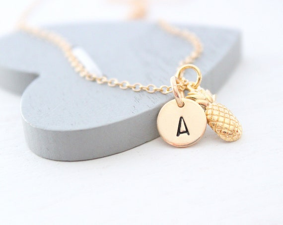 Pineapple Necklace gold with Initial charm, initial Necklace, gold Pineapple Necklace, Tropical necklace