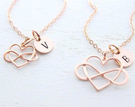 Infinity Necklace Mothers Necklace,, with initial, Mother and daughter Necklace, Mother daughter jewelry, Infinity heart necklace Set of 2