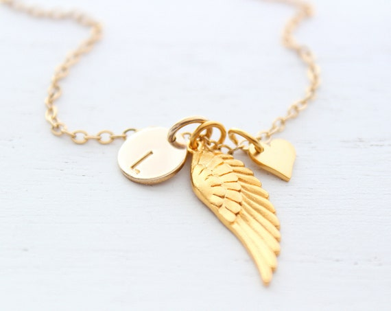 Angel wing necklace gold, memorial necklace, angel necklace, angel wing charm, angel wing jewelry, Christmas gift