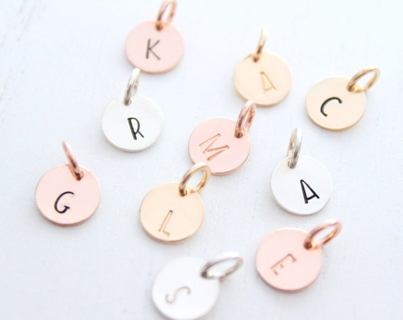 Initial Charm, Initial pendant, Initial letter charm, Personalized letter charm, Sterling Silver initial charm, Rose Gold