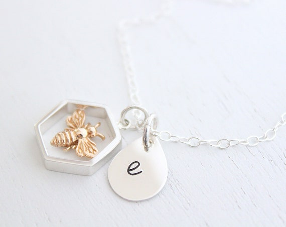 Bumble bee necklace silver, honey bee necklace, bee happy necklace, silver honey bee necklace, bee necklace silver, queen bee necklace
