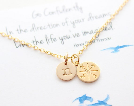 Graduation gift, compass necklace gold, high school senior, college, graduate student, Graduation gift for her