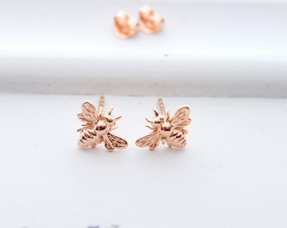 Rose gold Bee stud earrings, Bumble bee earrings, honey Bee Earrings, bee Jewelry, Insect earrings, Gift for her, Christmas gift
