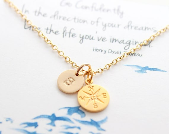 Compass necklace gold, high school senior, college, graduate student, Compass Graduation gift for her, Friendship jewelry