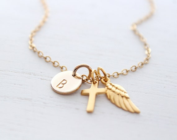 Christian womens jewelry, Dainty Cross necklace, Angel wing necklace gold, Tiny cross necklace, Personalized initial necklace