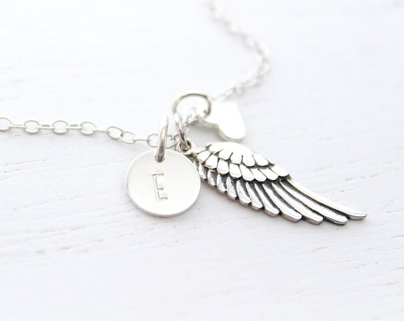 Angel wing necklace silver, wing necklace, memorial necklace, angel necklace, angel wing charm, angel wing jewelry, Christmas gift