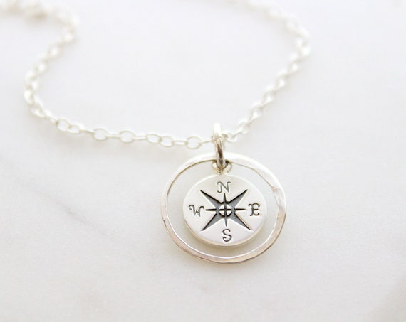 Compass Necklace enjoy the journey Silver, Initial necklace Compass Necklace Graduation gift, Best friends necklace