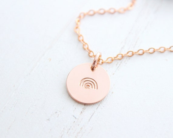 Rainbow necklace gold. Rose Gold Rainbow or Sterling Silver Rainbow Charm Necklace Minimalist.  Pride Necklace, Rainbow baby necklace