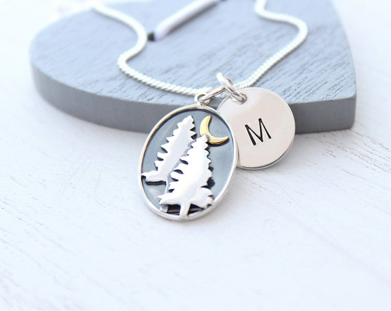 Tree Necklace Moon Necklace, Sterling Silver Celestial Pendants Necklace with Initial charm , Pine tree necklace, outdoor gift