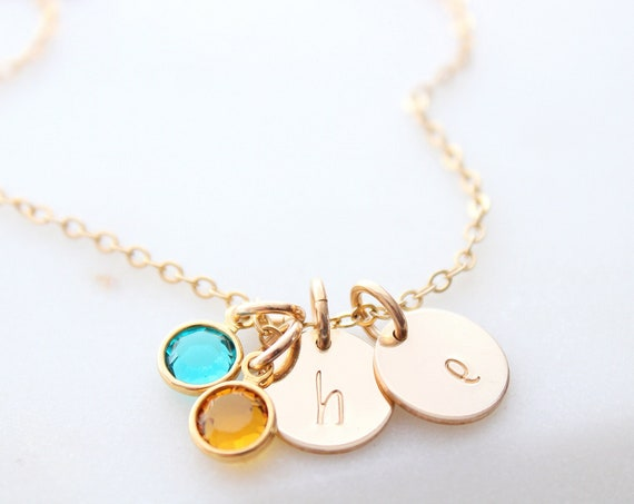 Initial necklace with birthstone gold, Personalized Gift for Her, Christmas Gift