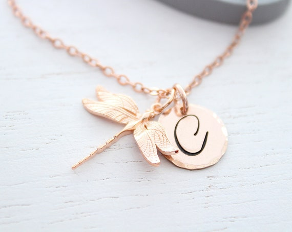 Women Dragonfly necklace rose gold, Cursive letter charm necklace, large initial letter charm necklace, dragonfly gift, Christmas gift