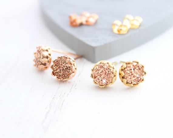 Rose gold Druzy earrings, druzy studs earrings, bridesmaid earrings rose gold, rose gold druzy earrings, pink bridesmaid earrings