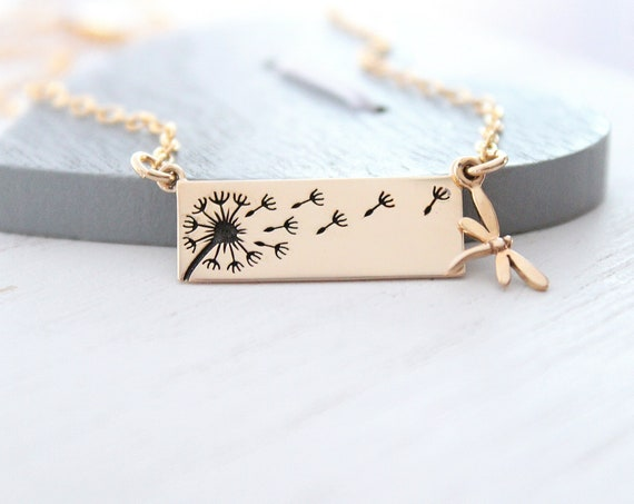 Dandelion Necklace gold, Dragonfly charm necklace, Wish Necklace Flower Gold Necklace, Christmas Gift For Women
