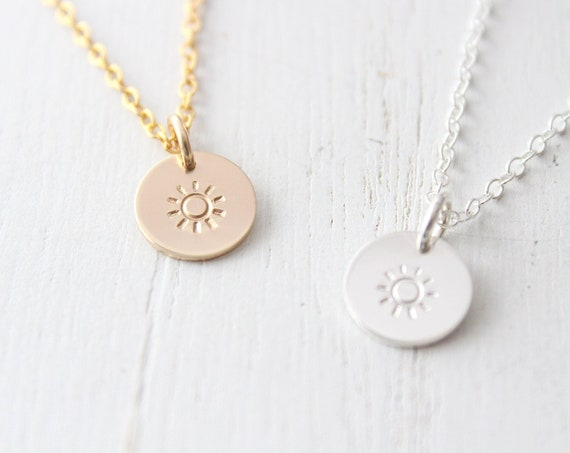Sun Necklace gold, Sunrise Pendant Necklace, Summer necklace, Delicate necklace Gift for her