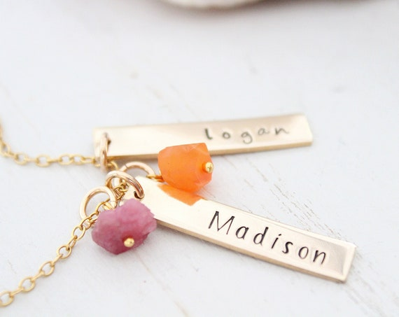 Personalized Bar Name Plate Necklace, Birthstone necklace for mom, Gold Bar Initial Necklace, Custom Name Bar Necklace