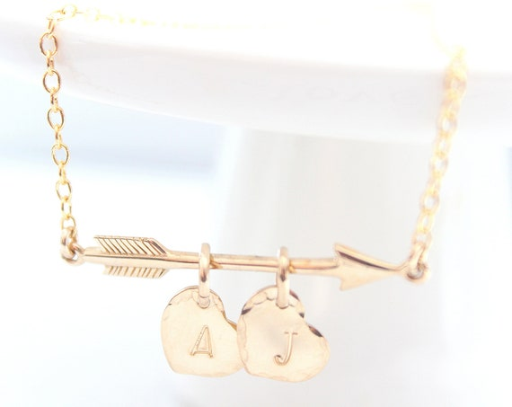 Arrow Necklace, gold Arrow Initial Necklace, Heart and Arrow Necklace, Personalized Gift, Friendship Jewelry