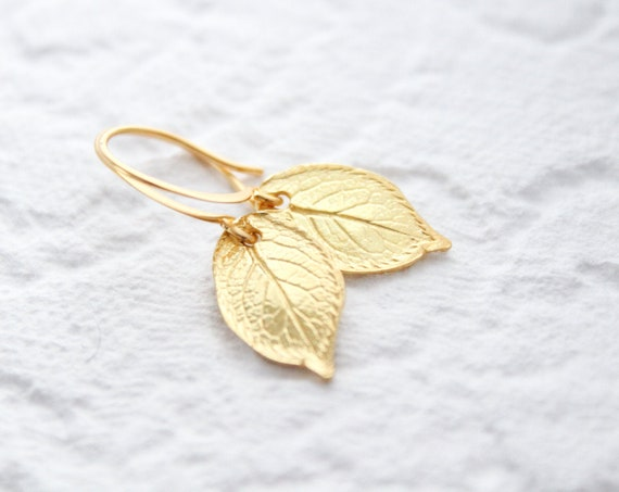 Gold leaf Earrings, Nature earrings, Gold Leaves Earrings, Gold Earrings, Leaf Earrings, Everyday Earrings
