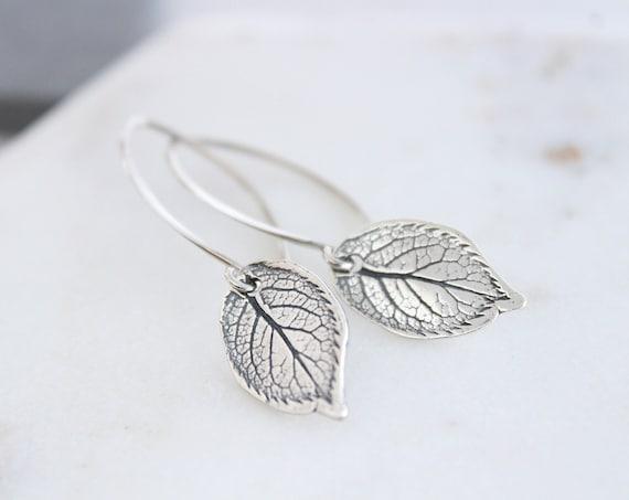 Leaf Earrings sterling silver, Nature earrings, Leaves Earrings,Leaves Jewelry, Dainty Everyday Earrings