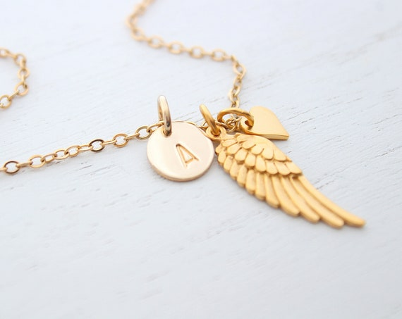 Angel wing necklace, gold wing necklace, memorial necklace, angel necklace, angel wing charm, angel wing jewelry