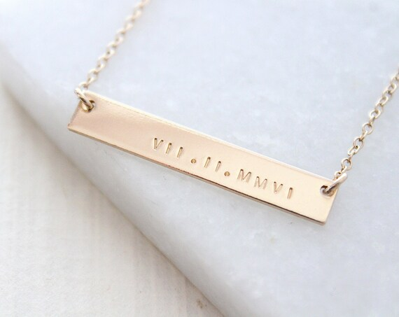 roman numeral necklace, Wedding Date Necklace, Gold Bar Necklace, Personalized Bar Necklace